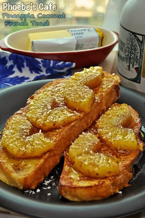 파인애플 곁들인 코코넛 프렌치 토스트